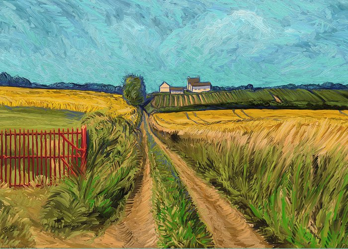 Apostelhoeve Wine Estate Wijngoed Maastricht Briex Landscape Fine Art Impressionism Greeting Card featuring the painting Apostelhoeve Wine Estate Maastricht by Nop Briex