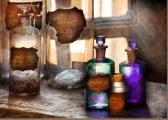 Doctor Greeting Card featuring the photograph Apothecary - Oleum Rosmarini by Mike Savad