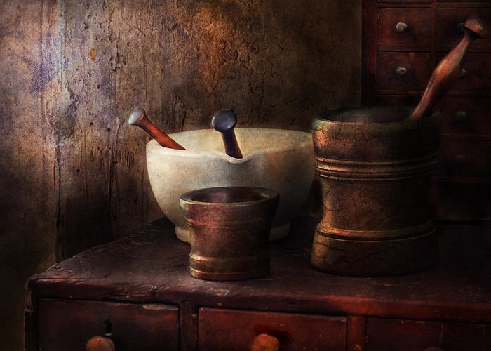 Pharmacy Greeting Card featuring the photograph Apothecary - Pick A Pestle by Mike Savad