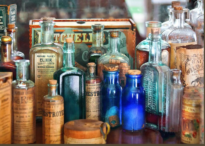 Pharmacy Greeting Card featuring the photograph Apothecary - Remedies For The Fits by Mike Savad