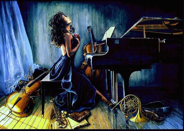 Musical Instrument Still Life Greeting Card featuring the painting Appassionato by Hanne Lore Koehler