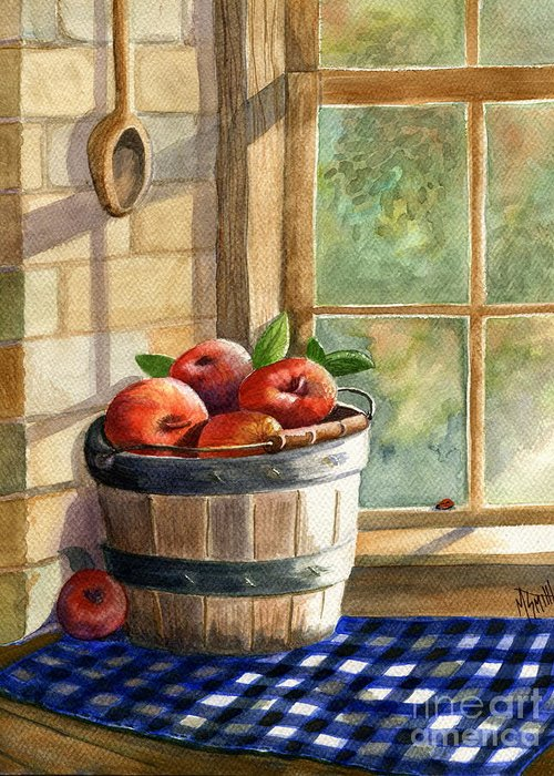 Apples Greeting Card featuring the painting Apple Harvest by Marilyn Smith