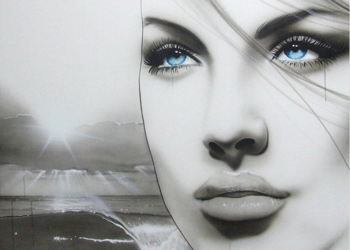 Women Paintings Greeting Card featuring the painting 'aqua Marine' by Christian Chapman Art