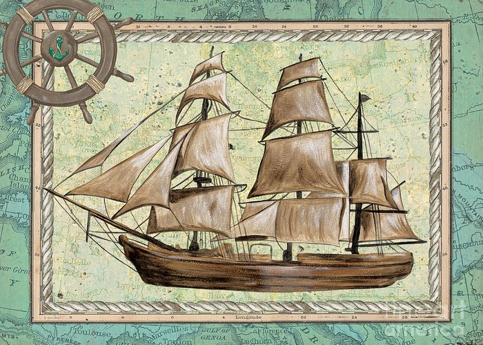 Aqua Greeting Card featuring the painting Aqua Maritime 1 by Debbie DeWitt