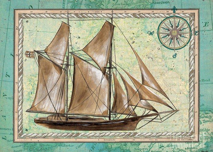 Aqua Greeting Card featuring the painting Aqua Maritime 2 by Debbie DeWitt