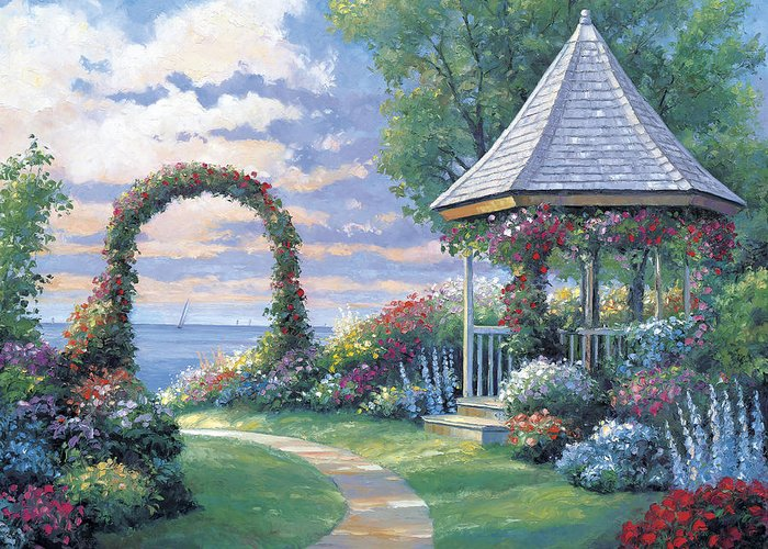 Pallet Greeting Card featuring the painting Arbor Light by John Zaccheo