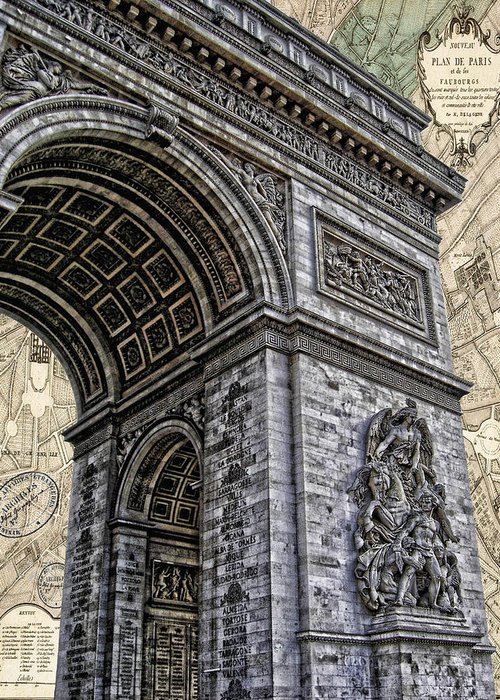 Eiffel Tower Greeting Card featuring the photograph Arc De Triomphe - French Map Of Paris by Lee Dos Santos