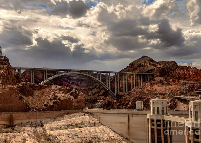 The Mike O'callaghan Greeting Card featuring the photograph Arch Bridge And Hoover Dam by Robert Bales