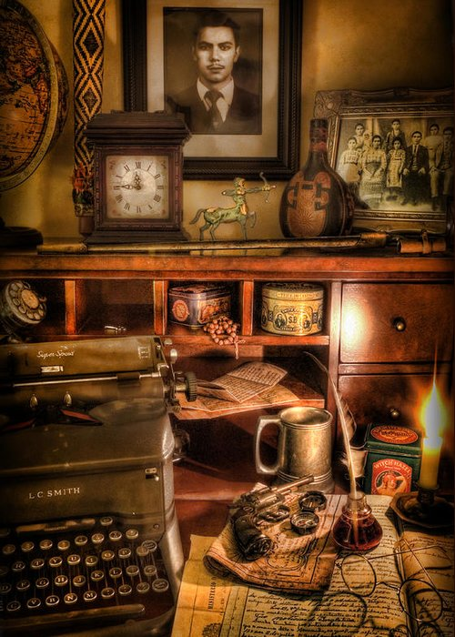 Archaeologist Greeting Card featuring the photograph Archaeologist - The Adventurer's Hutch by Lee Dos Santos