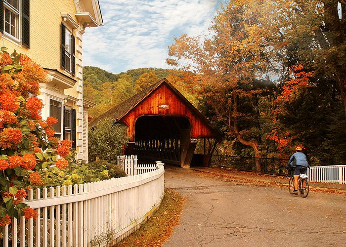 Savad Greeting Card featuring the photograph Architecture - Woodstock Vt - Entering Woodstock by Mike Savad