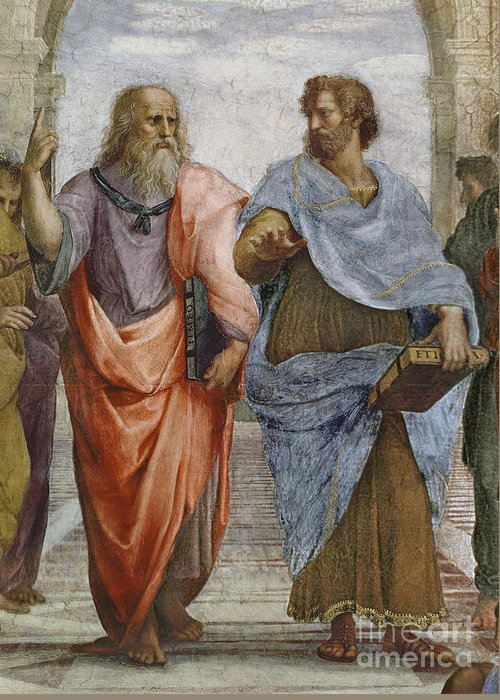 Iconic Greeting Card featuring the painting Aristotle And Plato Detail Of School Of Athens by Raffaello Sanzio of Urbino