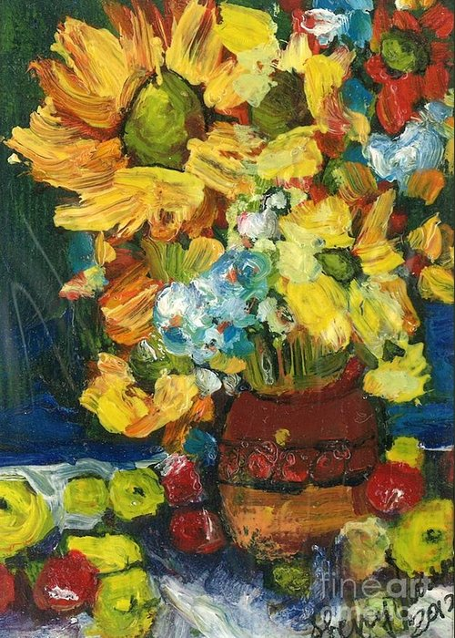 Owl Greeting Card featuring the painting Arizona Sunflowers by Sherry Harradence