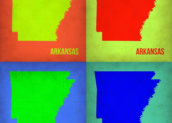 Arkansas Map Greeting Card featuring the painting Arkansas Pop Art Map 1 by Naxart Studio