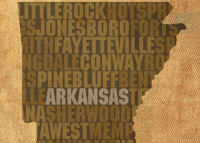 Arkansas Word Art State Map On Canvas Greeting Card featuring the mixed media Arkansas Word Art State Map On Canvas by Design Turnpike