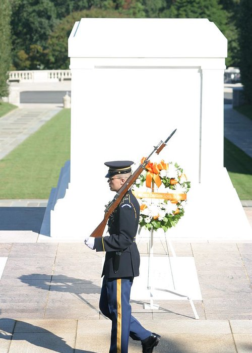 Arlington Greeting Card featuring the photograph Arlington National Cemetery - Tomb Of The Unknown Soldier - 121214 by DC Photographer