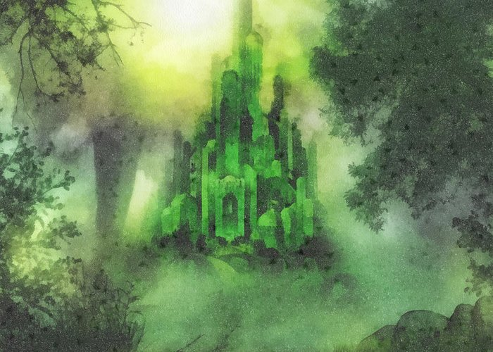 Emerald City Greeting Card featuring the painting Arrival To Oz by Mo T