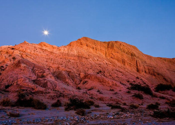 Anza-borrego Desert Greeting Card featuring the photograph Arroyo Moonrise by Peter Tellone