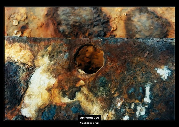Canvas Greeting Card featuring the painting Art Work 206 Ship Rust by Alexander Drum