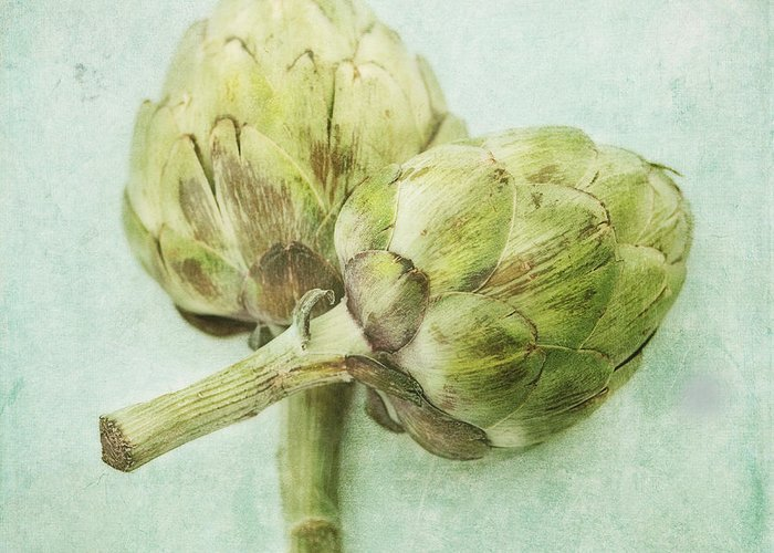 Light Greeting Card featuring the photograph Artichokes by Priska Wettstein