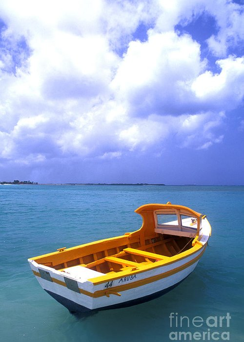 Vibrant Color; Empty; Absence; Transportation; Tranquility; Horizon Over Water; Sea; Fishing Boat; Floating On Water; Travel; No People; Vertical; Outdoors; Day; Aruba Greeting Card featuring the photograph Aruba. Fishing Boat by Anonymous