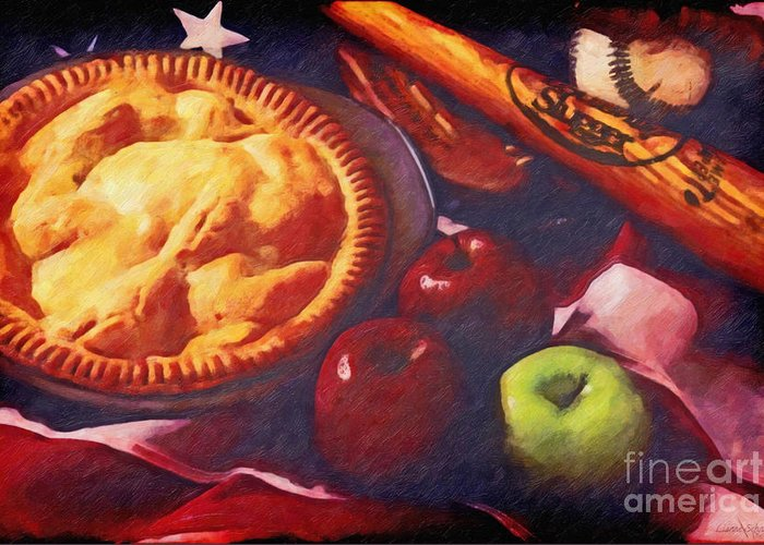 Baseball Greeting Card featuring the digital art As American As Baseball And Apple Pie by Lianne Schneider