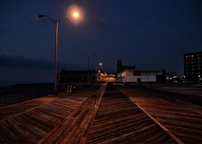 Asbury Greeting Card featuring the photograph Asbury Park Boardwalk At Night by Bill Cannon