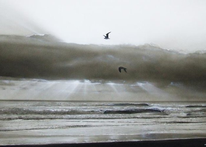 Ocean Greeting Card featuring the painting 'ascension II' by Christian Chapman Art