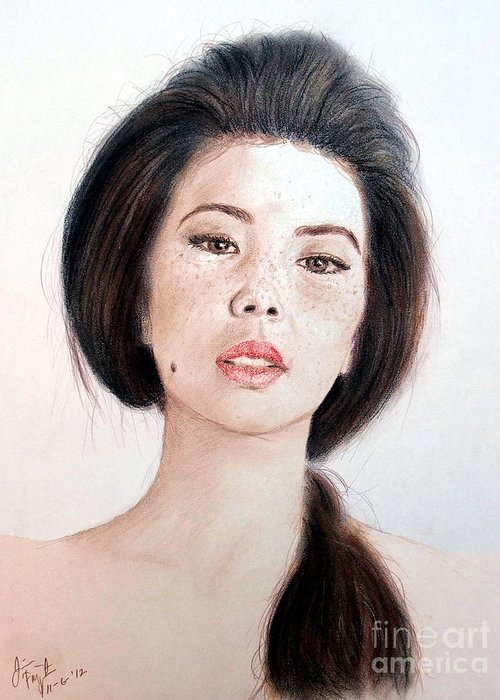 Freckle Faced Asian Beauty Greeting Card featuring the drawing Asian Beauty by Jim Fitzpatrick