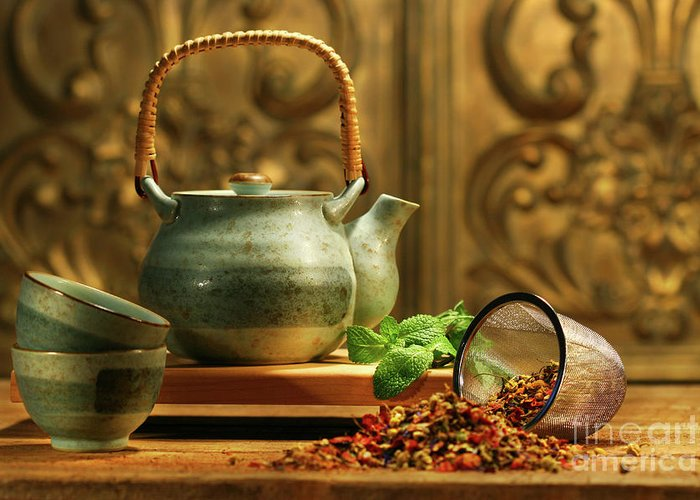 Asia Greeting Card featuring the photograph Asian Herb Tea by Sandra Cunningham