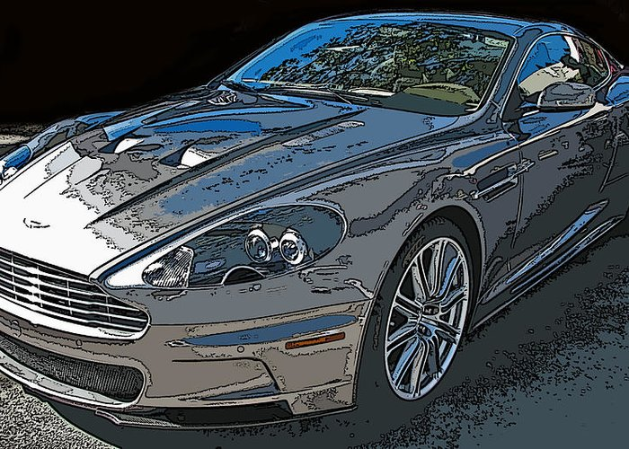 Aston Martin Db S Coupe 3/4 Front View Greeting Card featuring the photograph Aston Martin Db S Coupe 3/4 Front View by Samuel Sheats