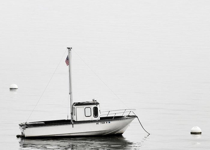 Boat Greeting Card featuring the photograph At Anchor Bar Harbor Maine Black And White Square by Carol Leigh