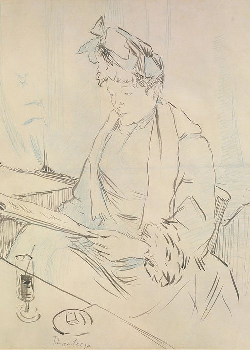 Female Greeting Card featuring the drawing At The Cafe by Henri de Toulouse-Lautrec