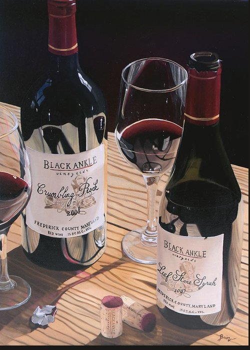 Wine Art Greeting Card featuring the painting At The Right Time by Brien Cole
