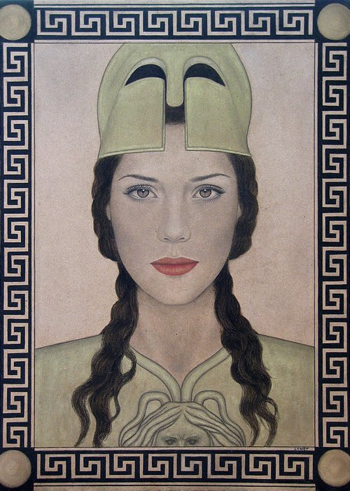 Athena Greeting Card featuring the painting Athena by Lynet McDonald