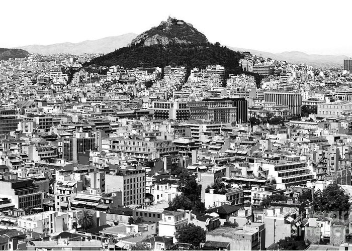Athens City View Greeting Card featuring the photograph Athens City View In Black And White by John Rizzuto