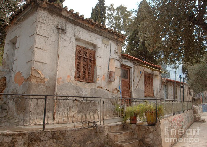 Greece Greeting Card featuring the photograph Athens Street Ruin by Deborah Smolinske