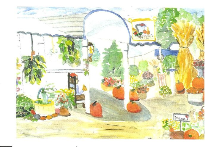 Nj Farm Stand Greeting Card featuring the painting Aunt Helen's Farm by Thelma Harcum
