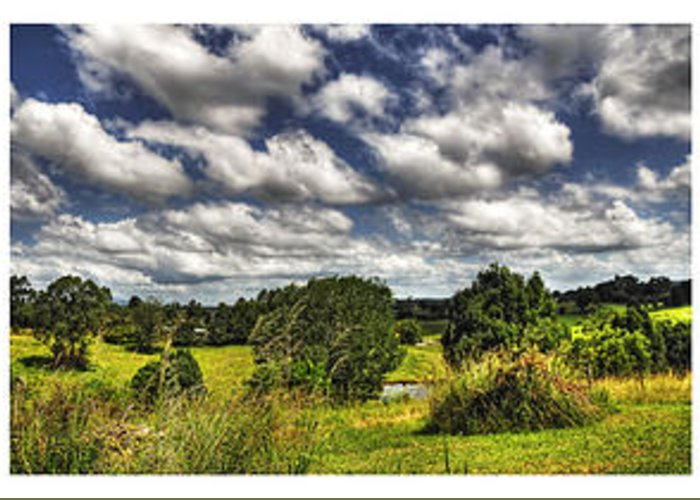 Photography Greeting Card featuring the photograph Australian Countryside - Floating Clouds Collage by Kaye Menner
