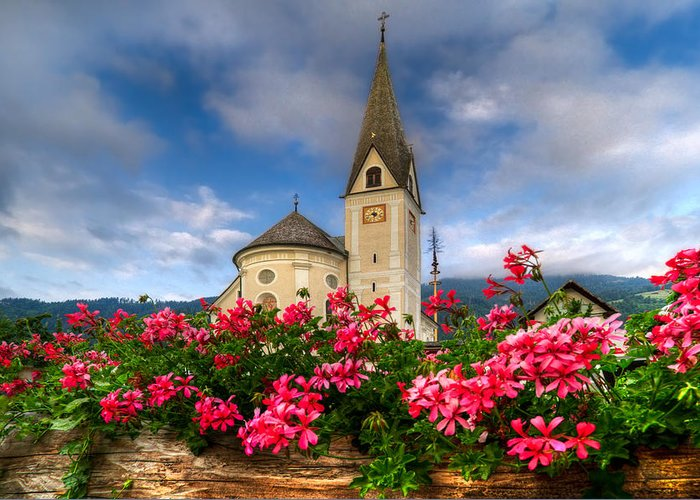 Austria Greeting Card featuring the photograph Austrian Church by Debra and Dave Vanderlaan