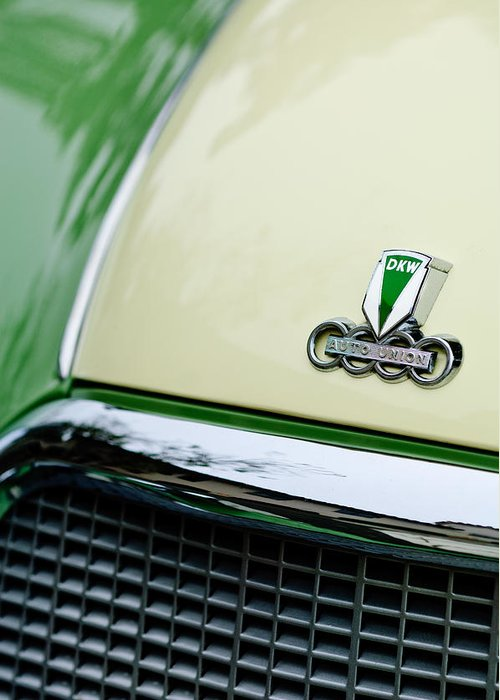 Auto Union Dkw Greeting Card featuring the photograph Auto Union Dkw Hood Emblem by Jill Reger