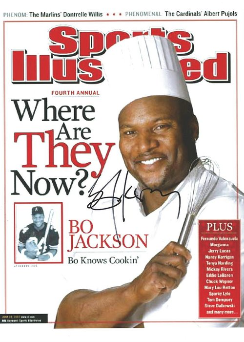 Sports Illustrated Greeting Card featuring the photograph Autographed Sports Illustrated Cover By Bo Jackson Bo Knows Cookin' by Desiderata Gallery