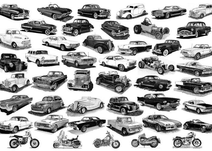 Framed Poster Of Cars & Motorcycles In Black & White Greeting Card featuring the drawing Automotive Pen And Ink Poster by Jack Pumphrey