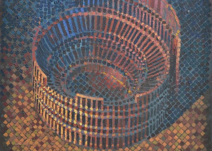 Roman Greeting Card featuring the painting Autumn Amphitheatre by Mark Howard Jones