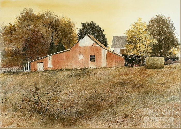 A Rustic Barn Stands At The Edge Of A Brittle Brown Field Of Autumn Grasses. It Is A Sunshine Filled Day On This Old Farm Northeast Of Little Rock Greeting Card featuring the painting Autumn Glow by Monte Toon