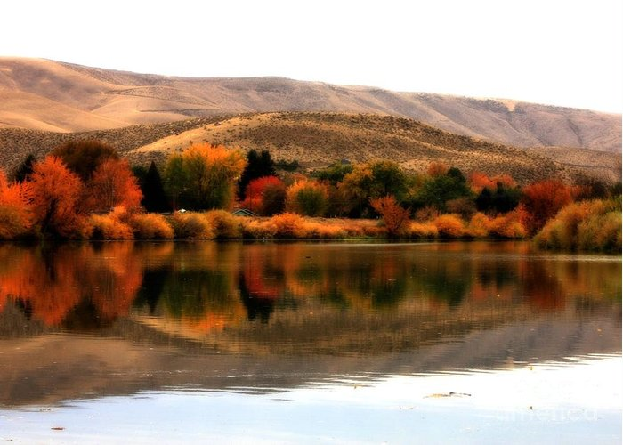 Prosser Greeting Card featuring the photograph Autumn Glow On The Yakima River by Carol Groenen