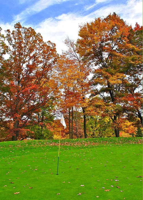 Golf Greeting Card featuring the photograph Autumn Golf by Frozen in Time Fine Art Photography