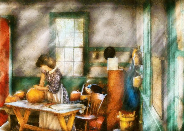 Savad Greeting Card featuring the digital art Autumn - Halloween - Carving A Pumpkin by Mike Savad
