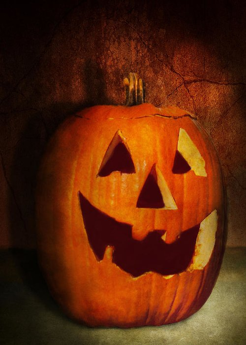 Autumn Greeting Card featuring the photograph Autumn - Halloween - Jack-o-lantern by Mike Savad