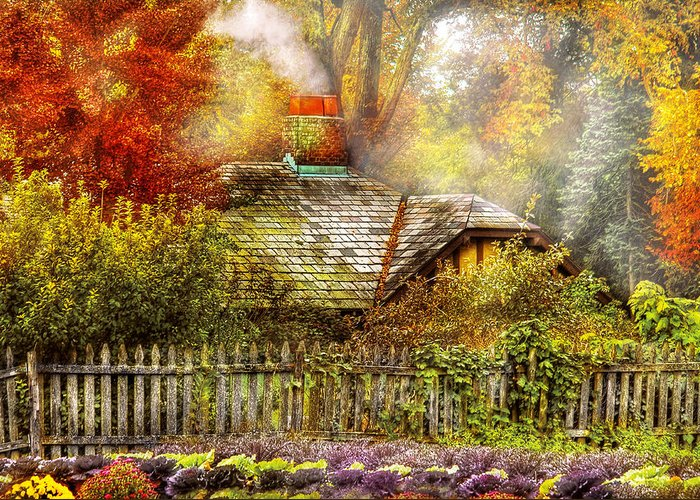 Savad Greeting Card featuring the photograph Autumn - House - On The Way To Grandma's House by Mike Savad