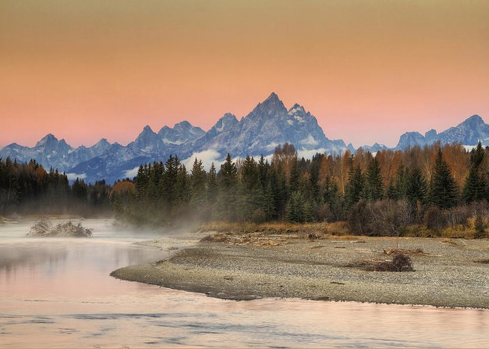 Snake River Greeting Card featuring the photograph Autumn Mist by Mark Kiver
